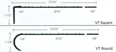Heavy Duty Stair Tread ¼u201d Dimensions